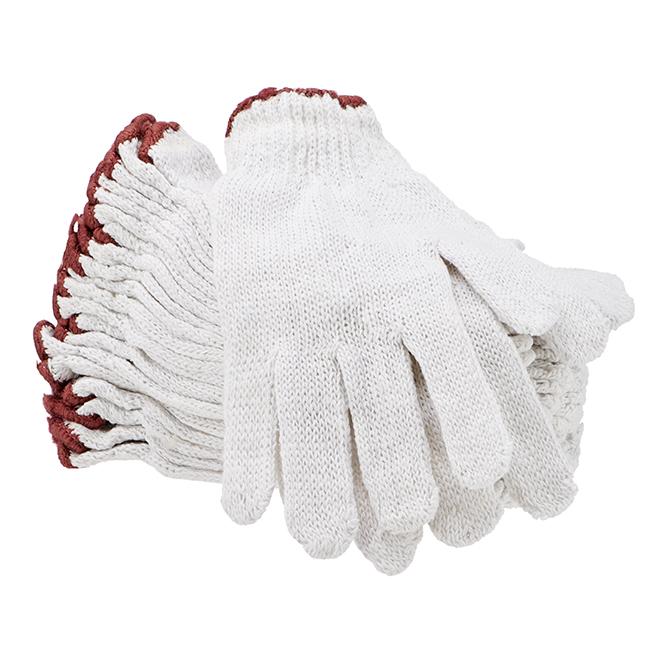 Gants de travail en coton/polyester, homme, blanc, G, 12 paires