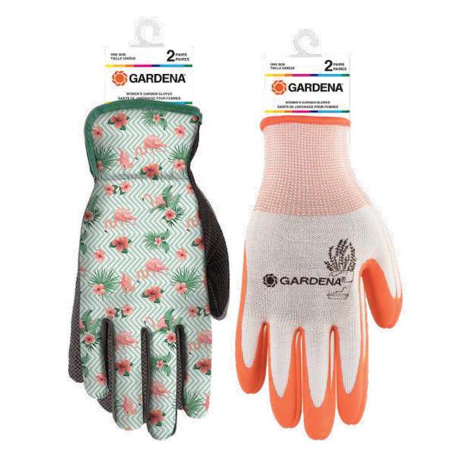 Paquet de 2paires de gants de jardinage, couleurs assorties