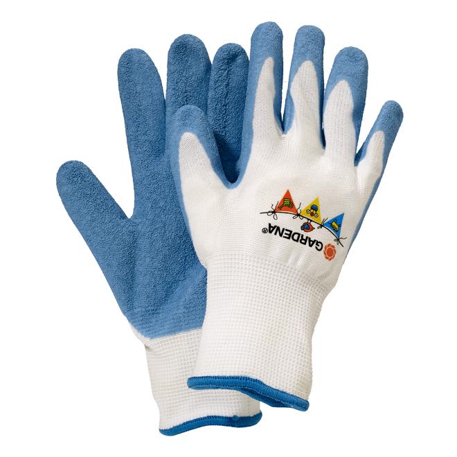 Gant de jardinage pour enfant, dextérité, bleu/blanc, PMG