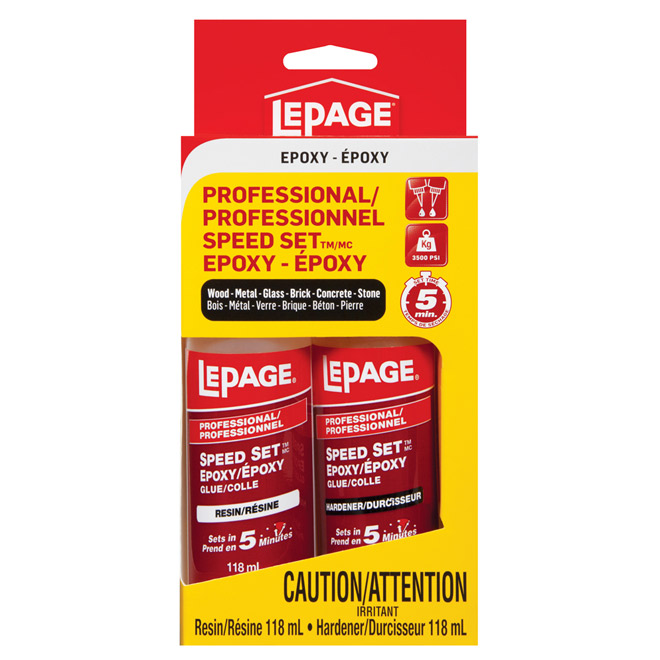 Colle epoxy professionnelle « Speed Set » LePage, 118 ml, pqt 2