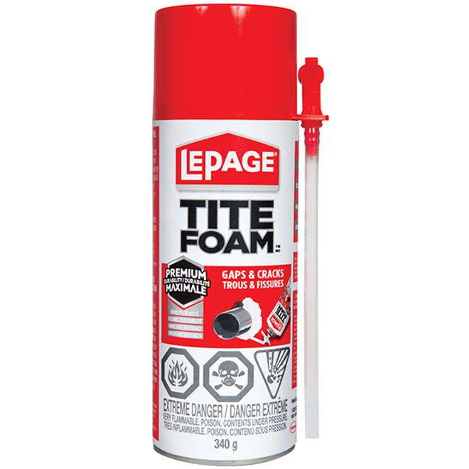 Mousse isolante Tite Foam pour trous et fissures, polyuréthane, 340 ml, blanc