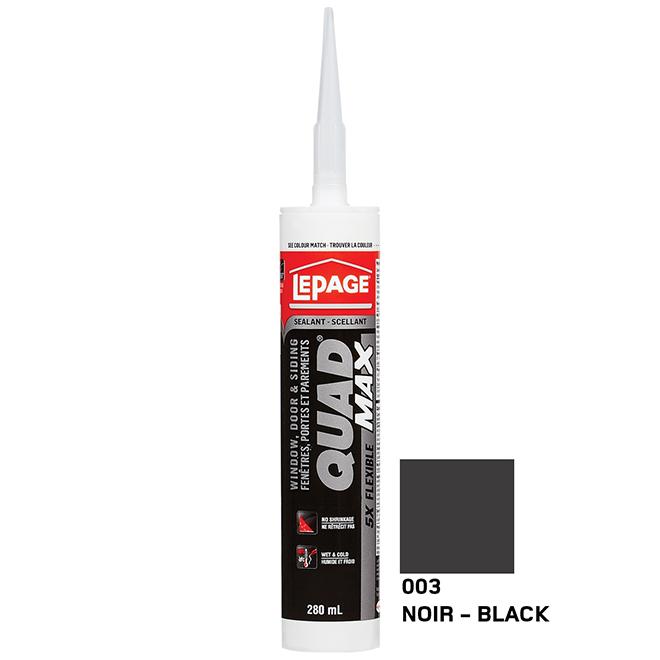 Scellant portes et fenêtres QUAD MAX, 280 ml, noir