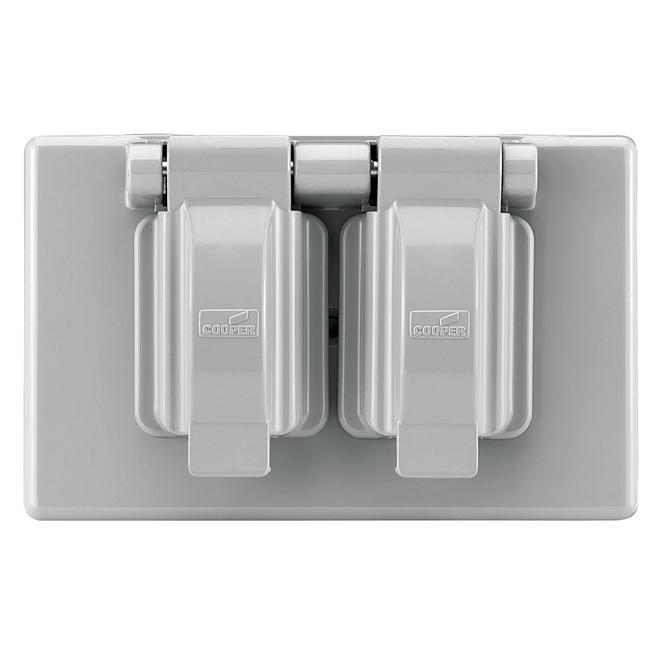Couvercle de prise étanche en plastique gris