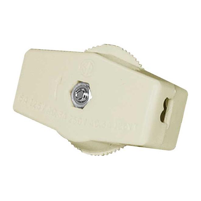 Interrupteur pour cordon unipolaire, 6 A, 120 V, ivoire