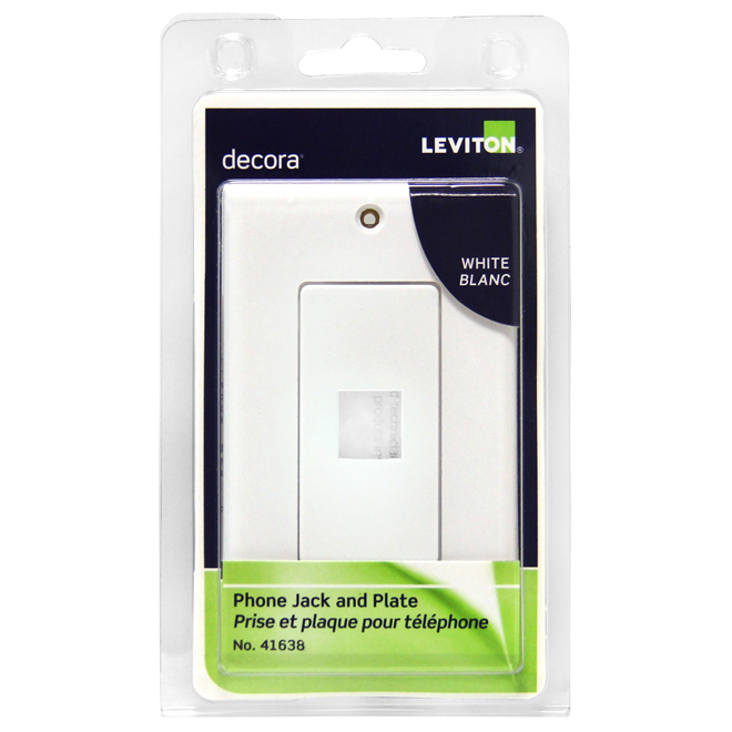 Wall Plate Telephone Jack - 6P6C - Decora White