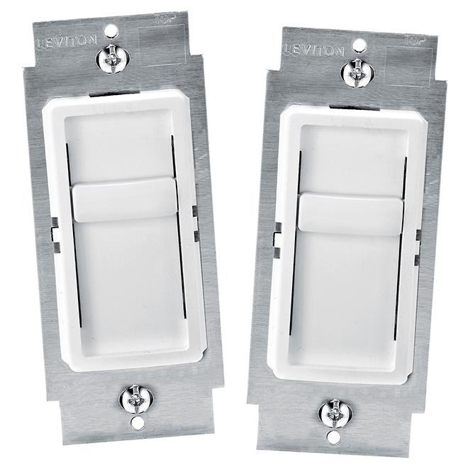 Gradateur DEL à glissière, paquet de 2, blanc