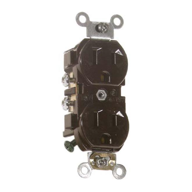 Duplex Receptacle - 15 A - 125 V - Metal/Plastic - Brown
