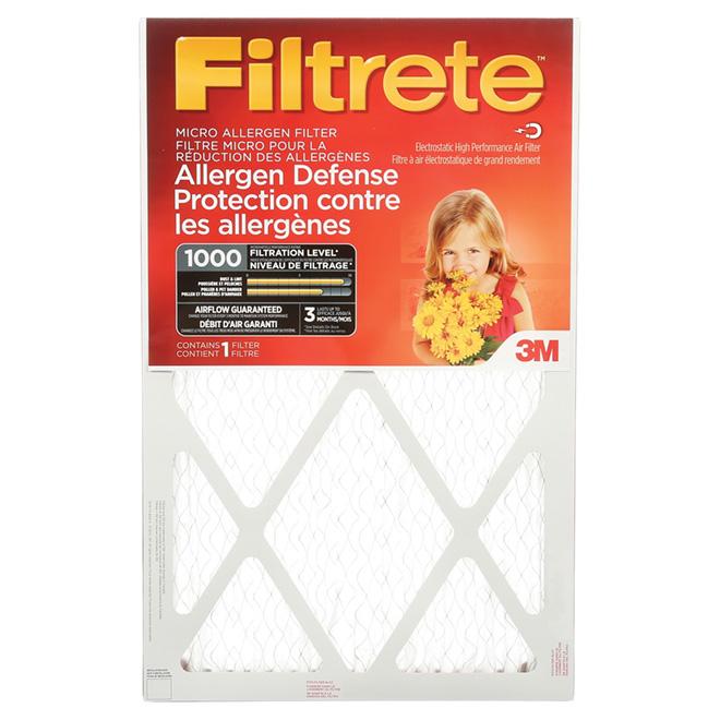 Filtre à fournaise Filtrete à réduction des micro-allergènes, 16 po x 25 po x 1 po