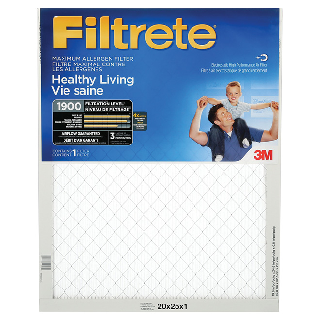 Filtre à air plissé électrostatique Filtrete à réduction maximale des allergènes, 20 po x 25 po x 1 po, 1900 MPR