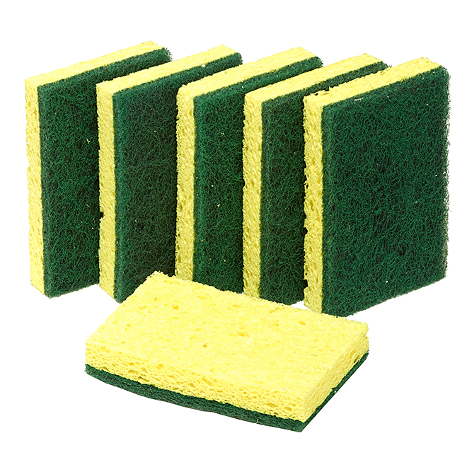 "Scrub Sponge - 4.5"" x 2.7"" - Heavy-Duty - Cellulose - 6/Pk"