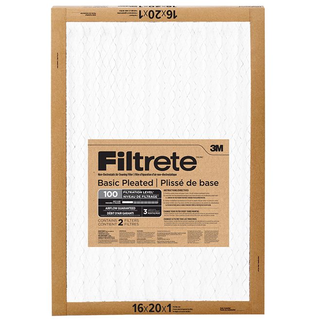 "Basic Pleated Air Filter - 16"" X 20"" - 2/Pack"