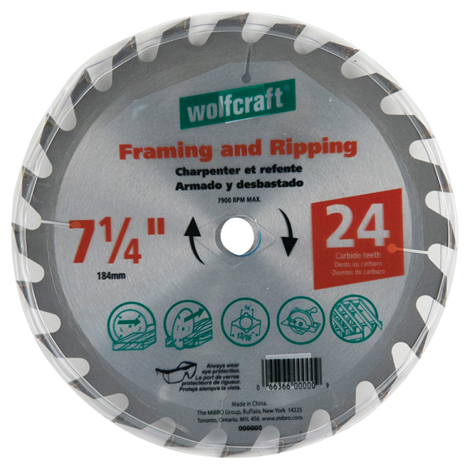 "Framing Circular Saw Carbide Blade - 7 1/4"" - 24TH"