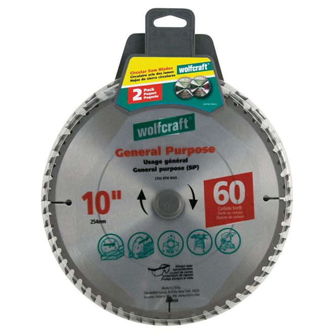 Lame en carbure pour usage général, 10 po, 60 DT, pqt de 2