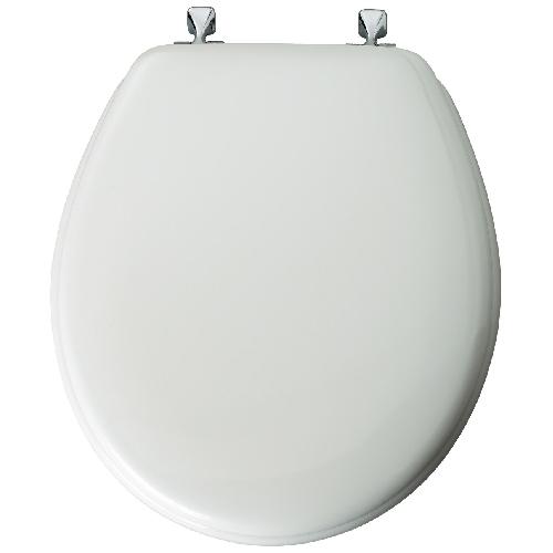 Siège de toilette en bois, blanc doux