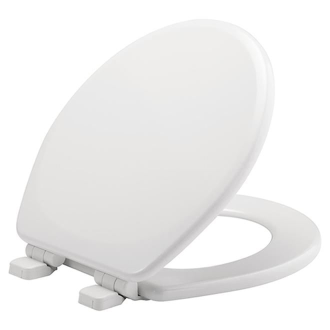 Siège de toilette moulé en bois, rond, blanc