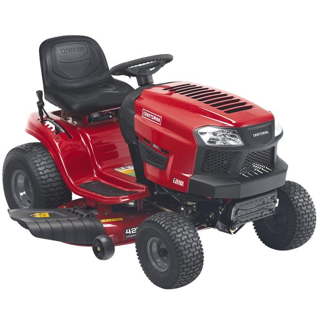 """Tracteur de jardin à essence, 42"""", 547cm³, rouge et noir"""