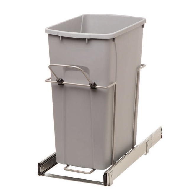 Real Solutions Pull-Out Waste Bin - Single - 29 L - Platinum
