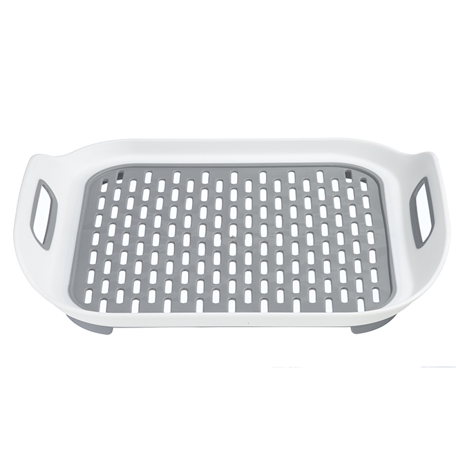 Sink Mat Tray - Flexible Plastic - White and Grey