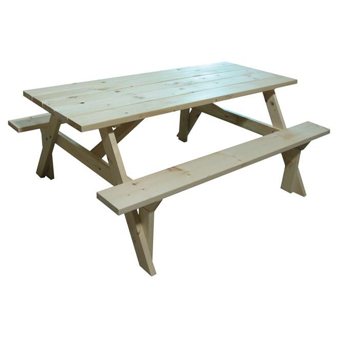 Table de pique-nique, bois de pin, 6 po