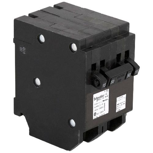Disjoncteur quadruple 15/15A/1P -  50A/2P