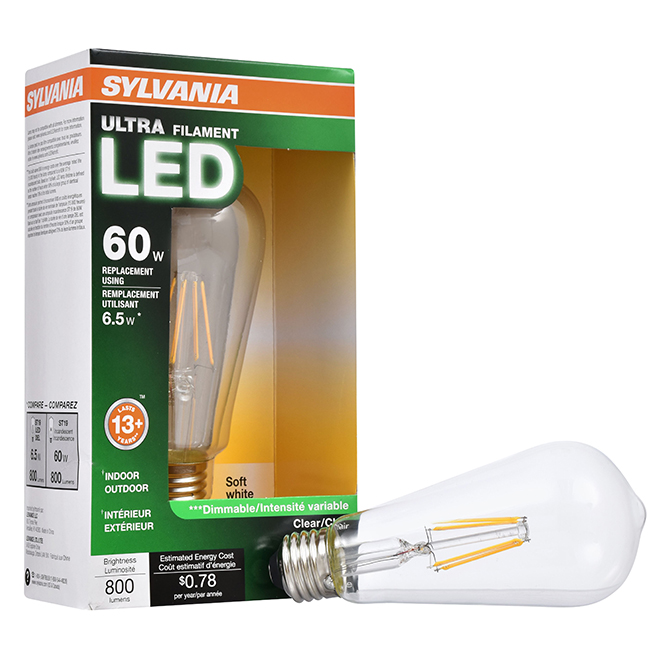 Ampoule Ultra A19 E26, Intensité n-variable, blanc doux, PK1