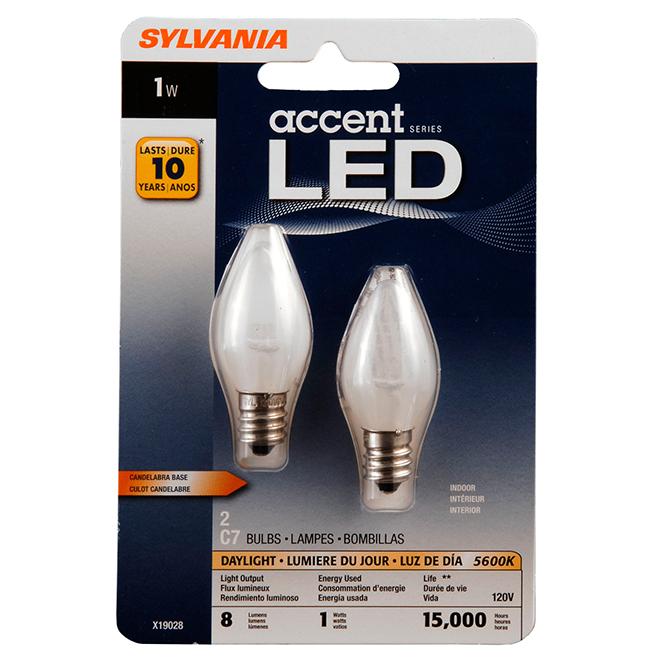 1W LED C7 Candelabra Night Light Bulb - Daylight - 2 Pack