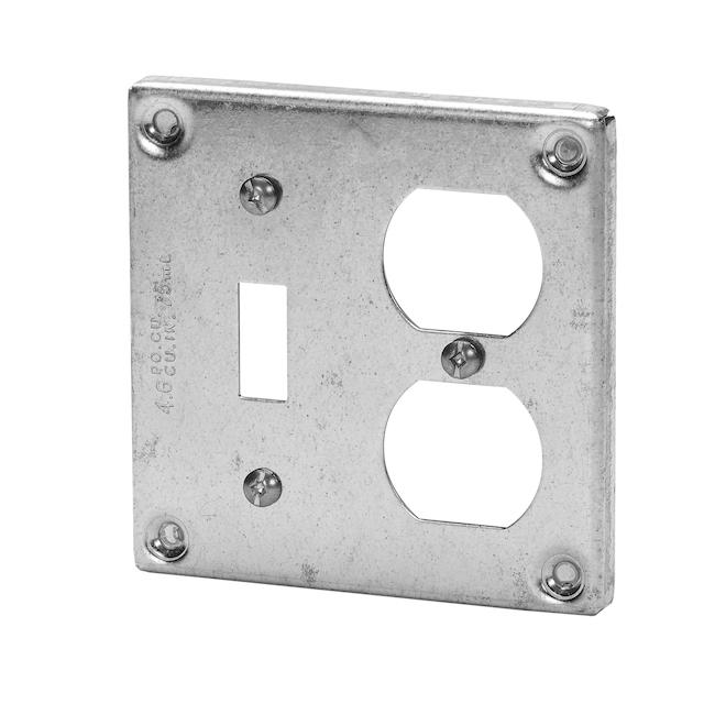 """Couvercle carré 4"""" pour 2 prises et 1 interrupteur"""