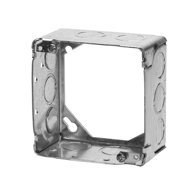 Boîte carrée concentrique en acier, 4'' x 2'' x 1/8''