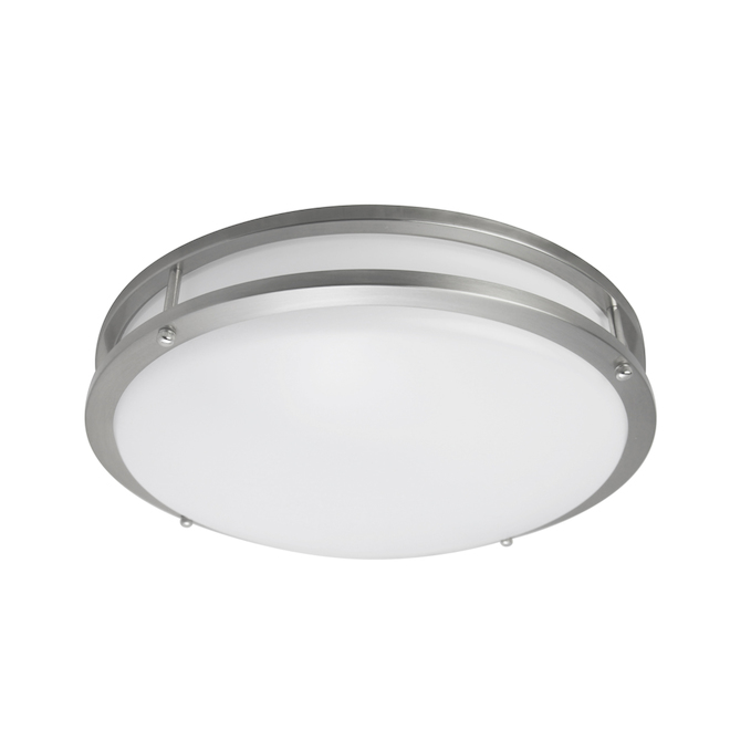 Plafonnier rond Project Source, DEL, 14 po, métal/acrylique, nickel brossé