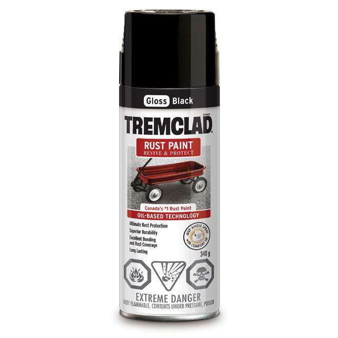 Tremclad Rust Spray Paint - 340 g - Black - Gloss