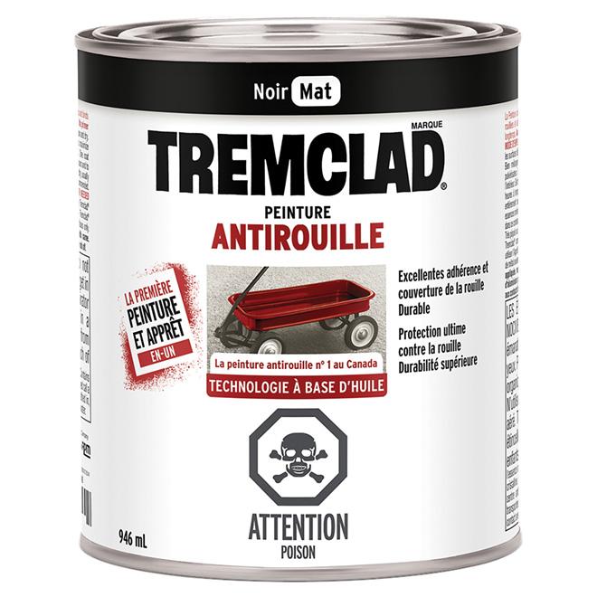 Peinture antirouille Tremclad, 946 ml, noir, fini mat