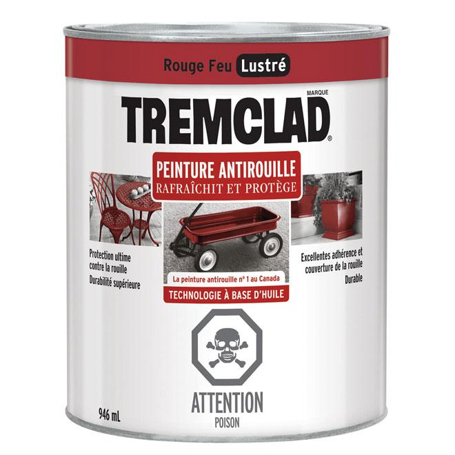 Peinture antirouille Tremclad, 946 ml, rouge feu, fini lustré