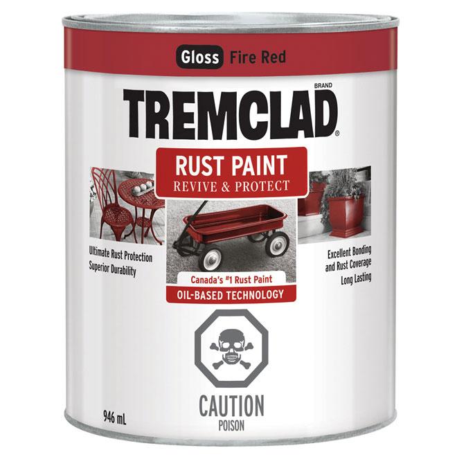 Tremclad Rust Paint - 946 ml - Fire Red - Gloss Finish