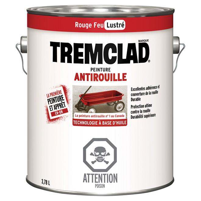 Antirouille, Tremclad(MD), fini lustré, 3,78 l, rouge feu