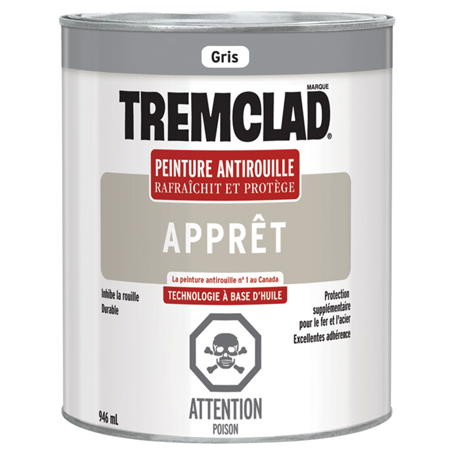 Apprêt antirouille Tremclad(MD), 946 ml, gris