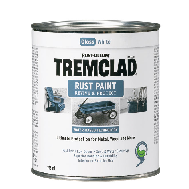 Tremclad - Antirust Paint - 946 ml - Gloss Finish - White
