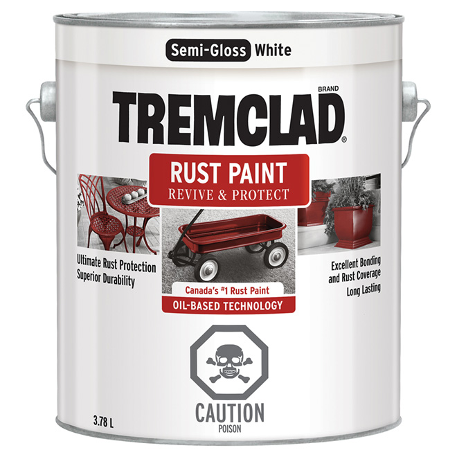 Tremclad - Antirust Paint - 3.78 L - Semi-Gloss Finish - White