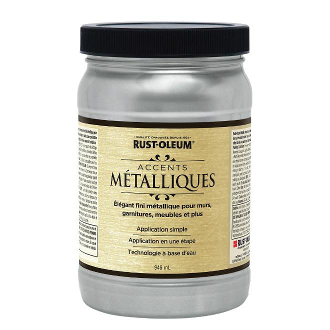 Peinture métallique à base d'eau, 946 ml, argent