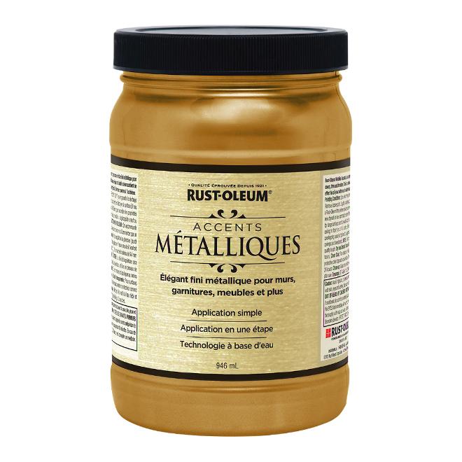 Peinture métallique à base d'eau, 946 ml, or doux