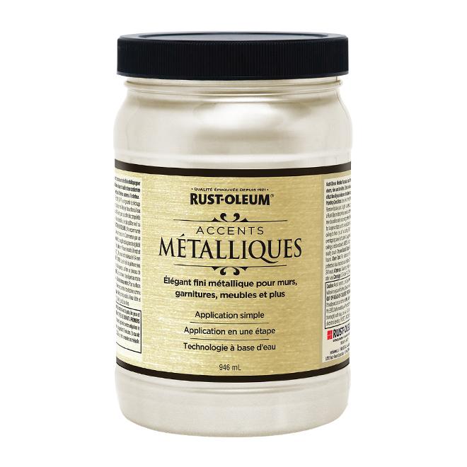 Peinture métallique à base d'eau, 946 ml, perle blanche