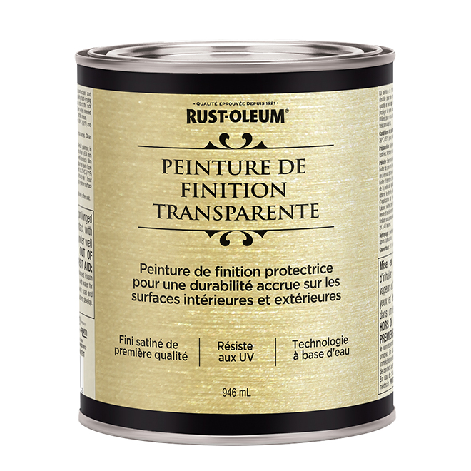 Peinture métallique à base d'eau, 946 ml, satin clair