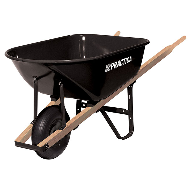 Wheelbarrow with Steel Tray - 6 cu. ft. - Black