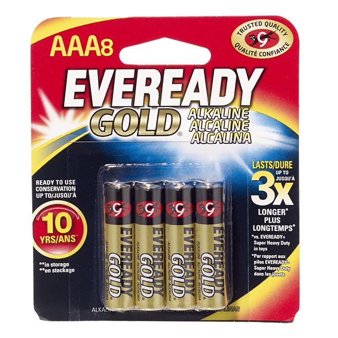 Piles alcalines AAA, emballage de 8
