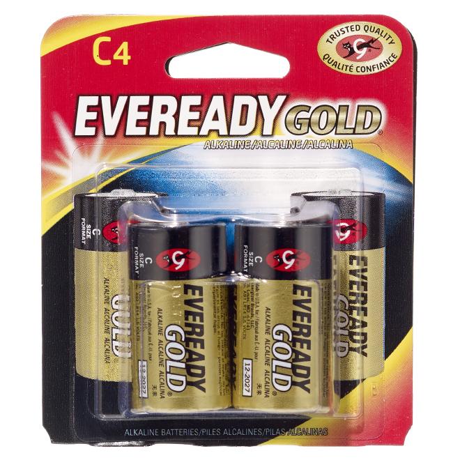 Alkaline C Batteries - Pack of 4