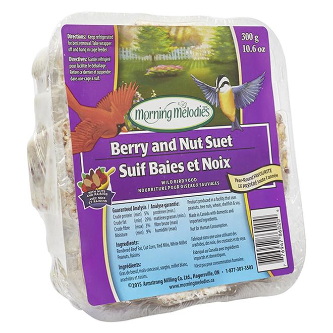 Suif pour oiseaux Morning Melodies, baies et noix, 300 gr