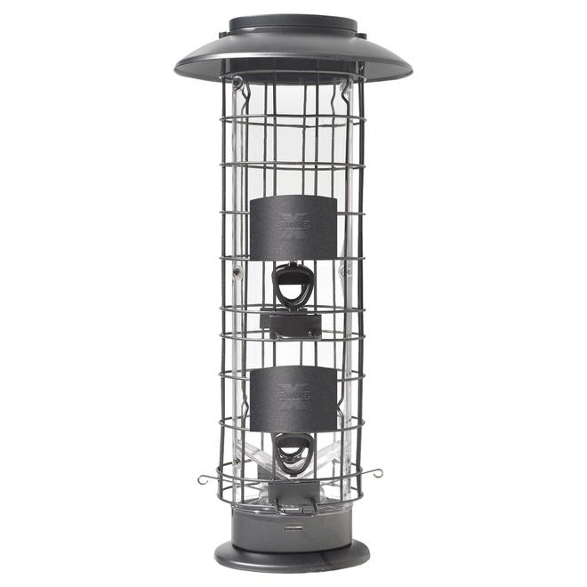 Mangeoire d'oiseaux Squirrel X-4, capacité de trémie de 1,9 lb, noir