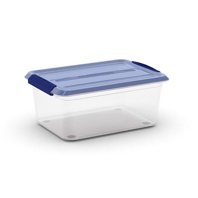Boîte de rangement Omni Kis, plastique, 14 litres, clair et bleu