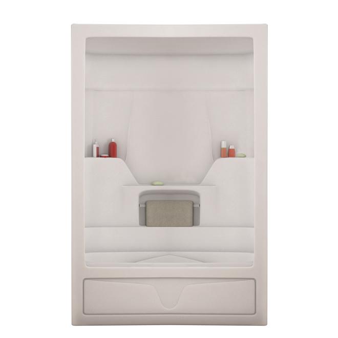 Bain-douche 3 morceaux avec drain à droite Aspen de Maax, acrylique, blanc, 60 po x 32 po x 85 po