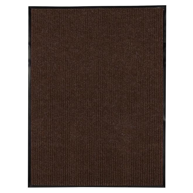 Tapis en polypropylène à hautes rainures, brun