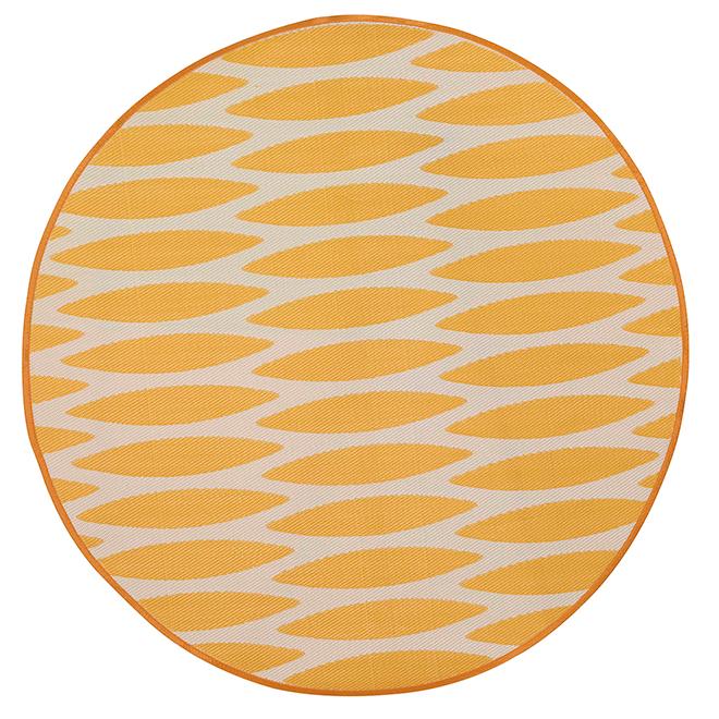 Tapis d'extérieur rond réversible Dune, 7', jaune